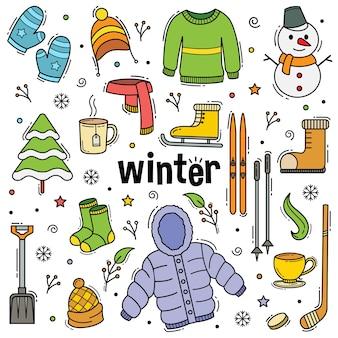 Oggetti disegnati a mano di doodle di inverno con stile di arte di linea