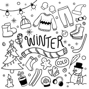 L'inverno doodles il vettore disegnato a mano