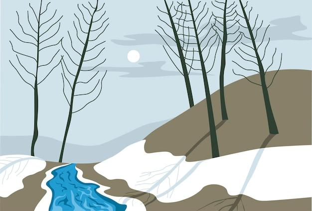 Paesaggio invernale o primaverile del fiume di notte Vettore Premium