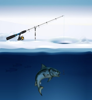 Composizione di pesca invernale con un'immagine realistica di pesce sotto ghiaccio con attrezzatura da pesca fissata sull'illustrazione di superficie