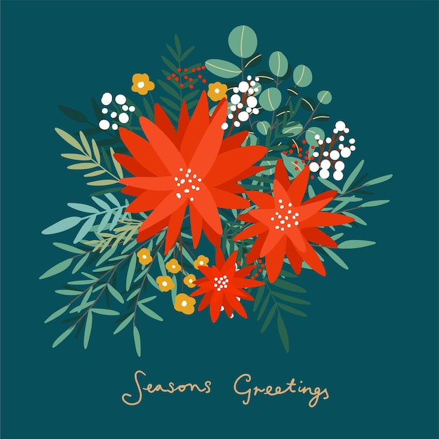 Fiori d'inverno. poinsettia fiori disegnati a mano e rami floreali e bacche, vischio ed eucalipto. floreali natalizi