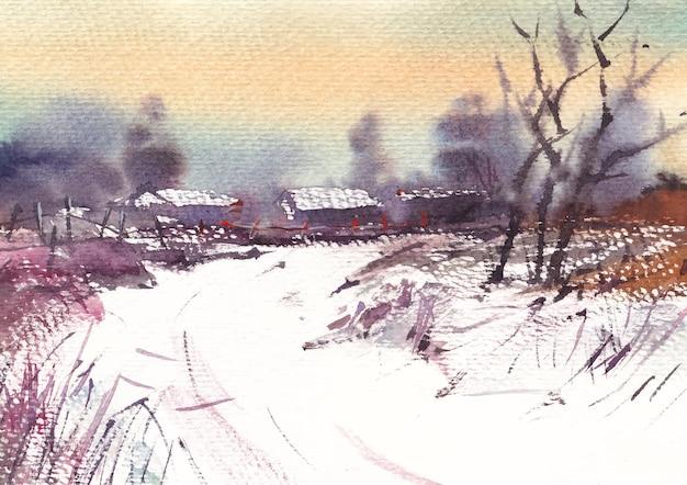 Paesaggio mattutino nebbioso invernale