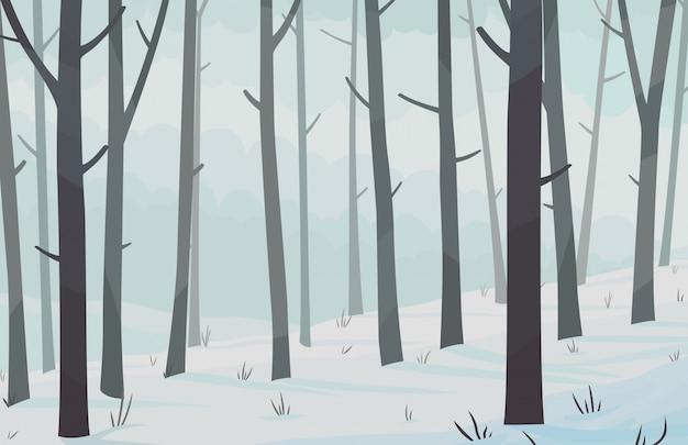 Paesaggio orizzontale di fores invernali. illustrazione vettoriale Vettore Premium