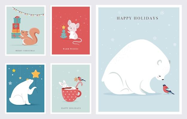 Animali della foresta invernale, biglietti di auguri di buon natale, poster con simpatico orso, uccelli, coniglietto, cervo, topo e pinguino.