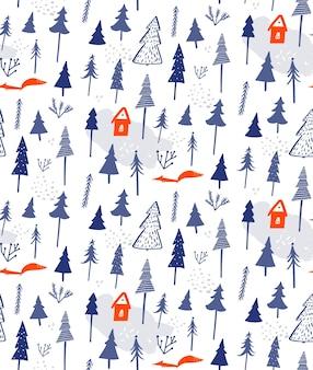 Modello senza cuciture della foresta invernale sfondo bianco neve con casa sugli alberi e carta da regalo volpe
