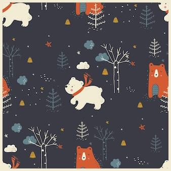 Modello senza cuciture della foresta invernale con simpatici orsi illustrazione vettoriale disegnata a mano