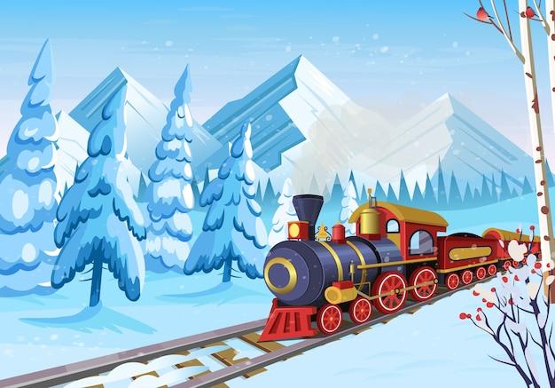 Foresta invernale con montagne di abeti e vecchio treno di natale.