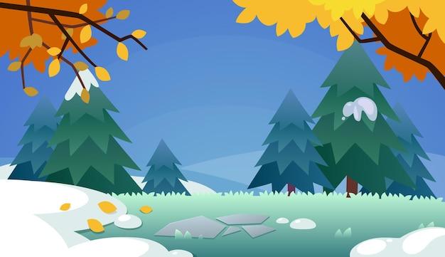 Foresta di inverno con illustrazione di stile del fumetto del fondo della neve
