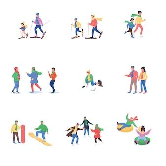 Set di caratteri senza volto di colore piatto attività invernale divertente
