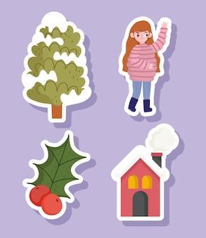 I vestiti caldi della ragazza di inverno, la bacca dell'agrifoglio dell'albero e le icone della casa hanno messo il fumetto