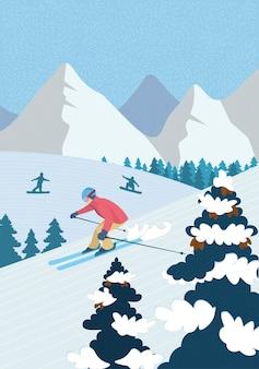 Ricreazione attiva del manifesto disegnato a mano di inverno in montagne alpine. sciatore sci alpino giù pendio nevoso. gli snowboarder degli atleti cavalcano lo snowboard. sport all'aria aperta nel banner dell'illustrazione di vettore della stazione sciistica