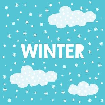 Inverno scritte a mano e fiocchi di neve fatti a mano elementi del modello di natale o capodanno