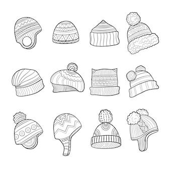 Cappello invernale. vestiti di stagione fredda orecchie calde che sbattono immagini di doodle