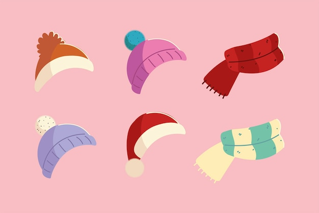Cappelli invernali e sciarpa lavorata a maglia accessori vestiti icone design