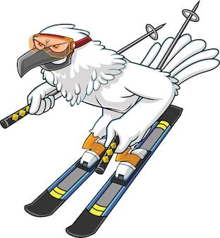 Personaggio dei cartoni animati sveglio dell'uccello di falco di inverno con gli sci e le aste va giù. illustrazione