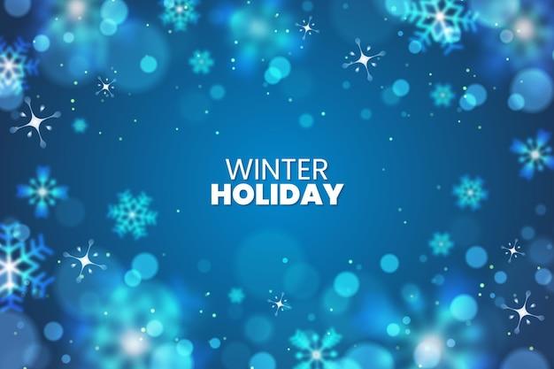 Sfondo di vacanza invernale con elementi sfocati