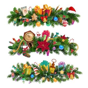 Vacanze invernali, composizioni decorative di natale