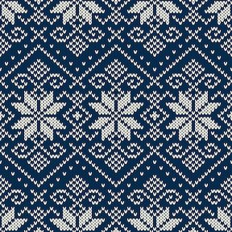 Motivo a maglia fair isle per le vacanze invernali. sfondo senza giunte di natale e capodanno