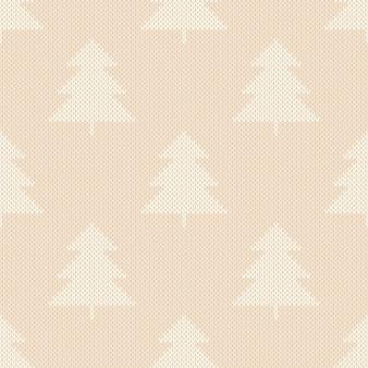 Motivo a maglia per vacanze invernali con ornamento di alberi di natale