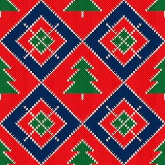 Modello di maglione lavorato a maglia per le vacanze invernali con ornamento di alberi di natale