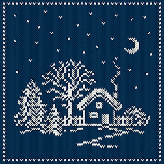 Paesaggio di vacanza invernale. maglione di natale design. modello lavorato a maglia senza soluzione di continuità