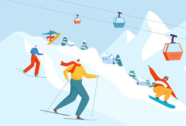 Illustrazione piana di attività di sport di montagna di vacanza invernale
