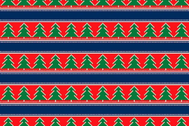 Motivo pixel per vacanze invernali con ornamento di alberi di natale