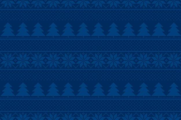 Motivo pixel per vacanze invernali con ornamento di alberi di natale e fiocchi di neve