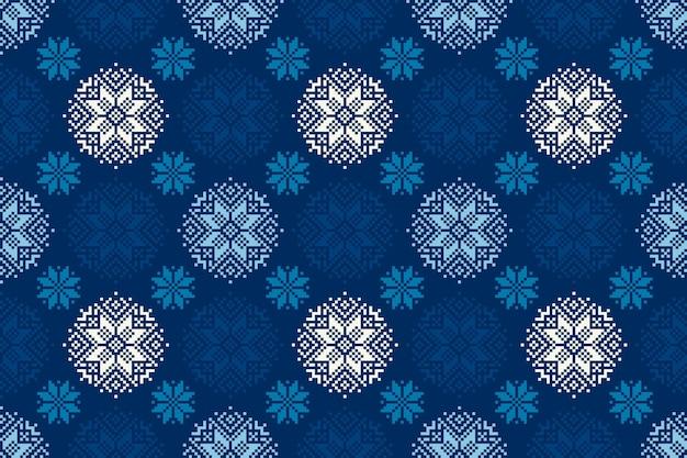 Reticolo di pixel vacanze invernali con ornamento stella di natale senza soluzione di continuità