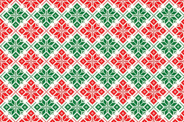 Motivo pixel per vacanze invernali con ornamento tradizionale stella di natale