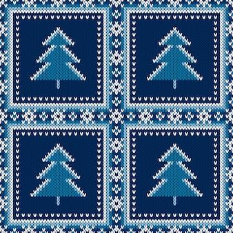 Motivo a maglia senza cuciture per vacanze invernali con ornamento di alberi di natale