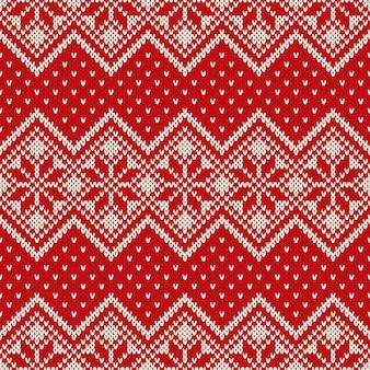 Reticolo di lavoro a maglia senza giunte di vacanza invernale con i fiocchi di neve. design maglione lavorato a maglia