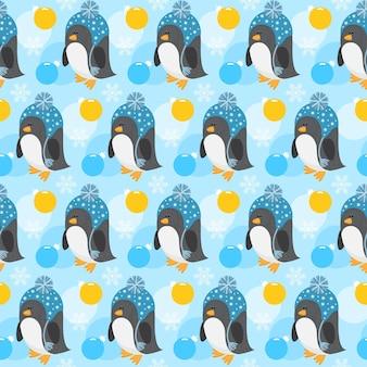 Fondo senza cuciture vacanza invernale penguin neve e palla di vetro