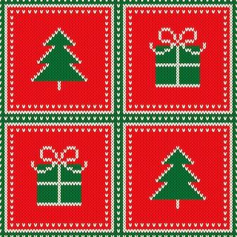 Fondo di struttura di maglia di lana senza cuciture di vacanza invernale con l'ornamento dell'albero di natale e della scatola regalo
