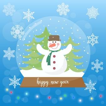 Biglietto vacanze invernali palla di vetro con pupazzo di neve