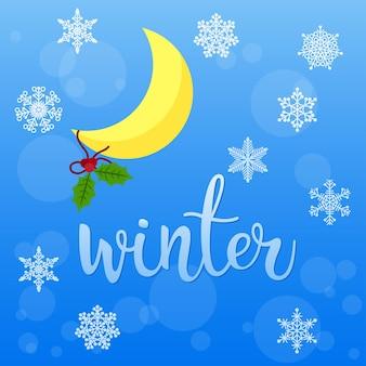 Carta di vacanze invernali luna e fiocchi di neve isolati su blue