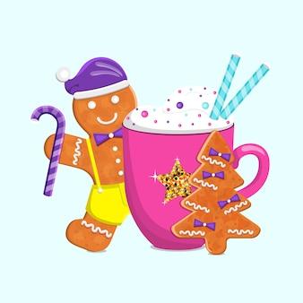 Vacanze invernali bevande e biscotti omino di pan di zenzero vettore