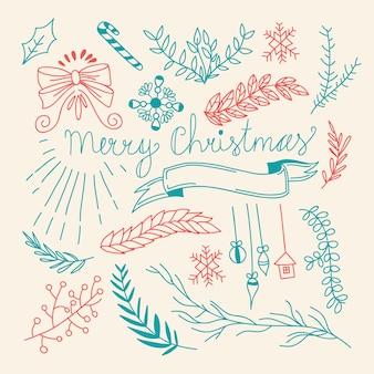 Modello disegnato a mano naturale di vacanze invernali con eleganti rami di albero ed elementi di natale
