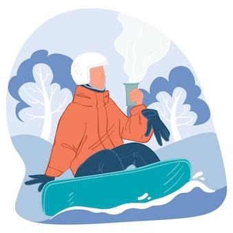 Vacanze invernali e riposo in inverno, stile di vita attivo e sport estremi. personaggio che si gode una tazza di bevanda calda in cima alla montagna. personaggio con snowboard che beve caffè. vettore in stile piatto