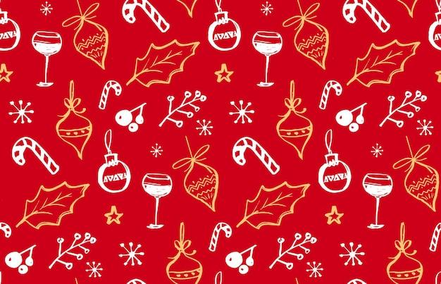 Modello senza cuciture di vacanze invernali con illustrazioni scarabocchiate di decorazioni natalizie in vetro di vino