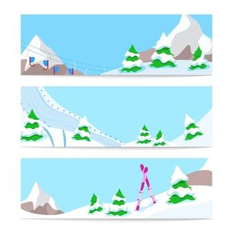 Modello di bandiere orizzontali di sci vacanze invernali con neve in discesa e montagne. sfondo
