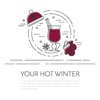 Banner orizzontale invernale vin brulè. stile arte linea piatta.