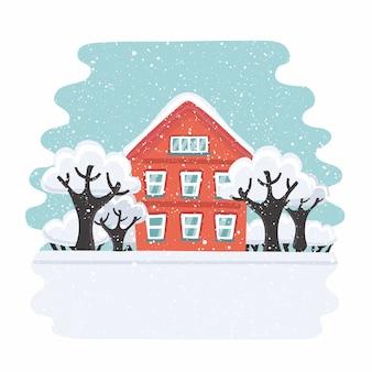 Casa d'inverno. casa d'autunno. casa suburbana familiare. illustrazione. Vettore Premium