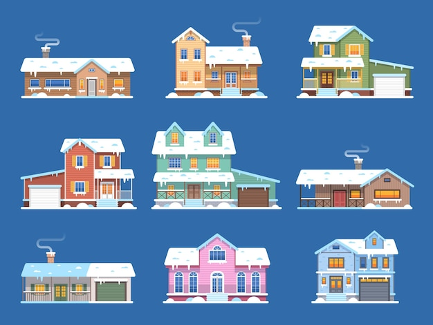 Case d'inverno. case nella neve, cottage e case a schiera con garage e terrazza, edifici innevati con vista frontale, resort per hotel di natale, vettore piatto immobiliare isolato su sfondo blu