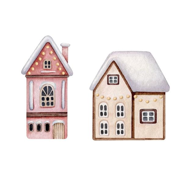 Case invernali con decorazioni natalizie Vettore Premium
