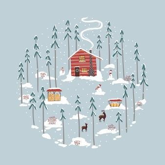 Rifugio invernale, casa nella foresta. cervi, pastori di renne, pupazzi di neve, legna da ardere, nevicate, pini. illustrazione in semplice stile disegnato a mano.