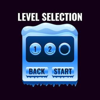 Interfaccia di selezione del livello dell'interfaccia utente del gioco del ghiaccio invernale per i giochi 2d