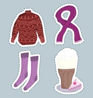 Icone di inverno impostare calzini sciarpa maglione e tazza di cioccolato