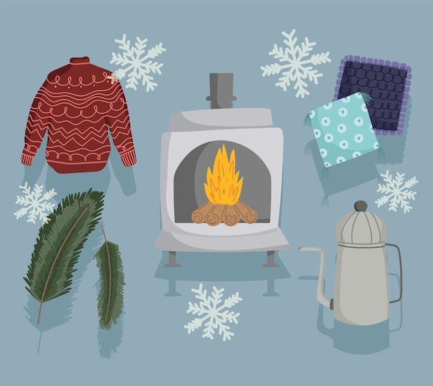 Icone invernali impostare maglione, stufa a legna, bollitore cuscino e decorazione di fiocchi di neve