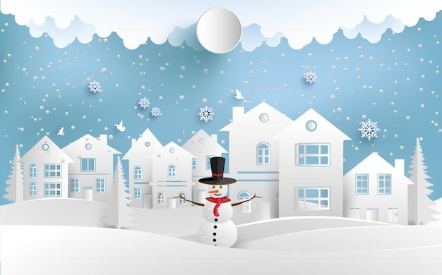 Illustrazione invernale con casa e pupazzi di neve. design arte e artigianato di carta